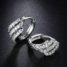 Shell Hoop Crystal Sapphire Silver Gold Filled Women Lady Huggie Wedding Earring