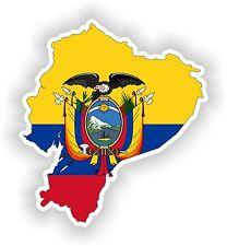 Sticker Silueta Ecuador Mapa Bandera Para Parachoques Guitarra Patineta Locker Tablet