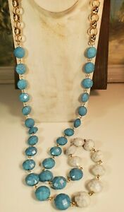 """Womens Beaded Necklace 41"""" Turquoise Marble White Gold Chain light plastic"""