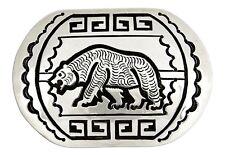 VTG Bear Belt Buckle Navajo George Begay Signed .925 Solid Silver