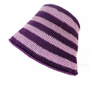 Crocheted Cotton Lilac and Purple Striped Hat  Size XS   Boho Festival Clothing