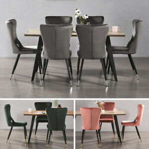Luxury Rocco Kitchen Dining Set Table 4 New York Velvet Chairs Home Furniture