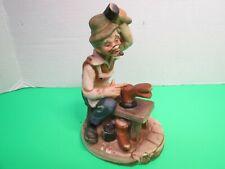 """Vintage Porcelain Figurine Old Man Shoe Cobbler 7"""" Tall"""