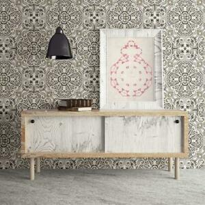 Casablanca Moroccan Mosaic Tile Effect Wallpaper in Charcoal & White