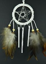 WHITE PENTAGRAM DREAM CATCHER CHIMES PAGAN STYLE DREAMCATCHER UK