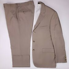 Hugo Boss 44R Suit Beige Wool Scorsese Movie Three Button Side Vents Flat Front