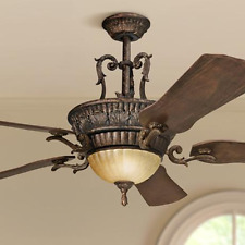 "Antique Fixture 60"" Large Ceiling Fan, Remote Aged Rustic Bronze Old World Light"