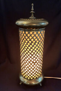 VTG Brass Cutout Cylinder Electric Accent Lamp Made from Indian Incense Burner