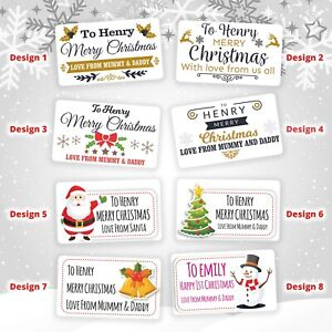 21 Personalised Christmas Stickers Gift Tag Labels Present Delivery From Santa