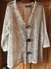 Natural 3/4 Sleeve Boxy Cardigan with Coconut Buttons by Nina Leonard. Size 2XL