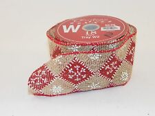 18 Foot Burlap Red Snowflake 2.5 IN Ribbon Crafts Christmas Holiday Decoration