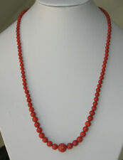 22,5 gr. dark red polishes coral necklace 1900 WONDERFUL silver clasp