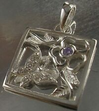 925 STERLING SILVER clear, purple CZ BUTTERFLY Floral CHARM PENDANT 20mm x 20mm