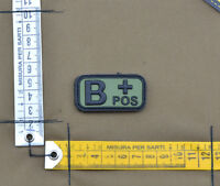 "PVC / Rubber Patch ""Small Blood Type B POS + OD"" with VELCRO® brand hook"