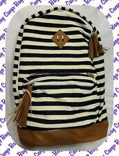 Navy Blue & Cream Striped Extra Large Backpack Woven Fabric Fits Carry On Limits