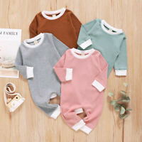 Newborn Infant Baby Boys Girls Long Sleeve Solid Romper Jumpsuit Clothes Outfit