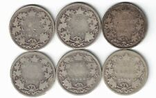 6 X CANADA 25 CENT QUARTERS QUEEN VICTORIA STERLING SILVER COIN 1872H - 1900