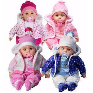 "20"" Lifelike Bibi Baby Doll Girls Boys Soft Bodied Toy &Sounds OR 2 Clothes Sets"