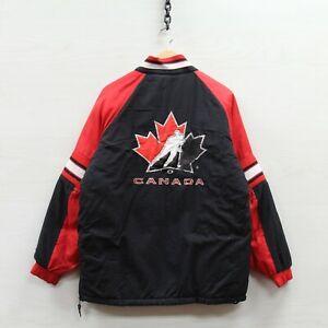 Vintage Team Canada Hockey Starter Puffer Jacket Size Medium 90s Olympics IIHF
