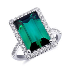 Natural Green Tourmaline 6.51 carats set in 14K White Gold Ring with Diamonds