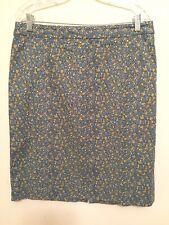 4415)  TALBOTS sz 12 blue geometric cotton w/stretch pencil skirt below knee