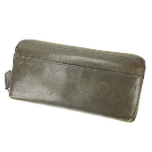 Coach Wallet Purse Long Wallet Signature Grey Woman Authentic Used Y1775