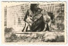 Frau mit Ziege, Geiß, Geißlein, altes Foto aus Crimmitschau um 1950