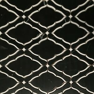 Waterjet Marble Mosaic, Black Marquina & Thassos White-Polished