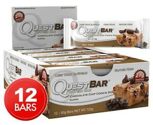 12x Quest Protein Bars Choc Chip Cookie Dough 60 Gluten Free Energy Bar Snack