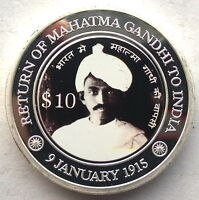Micronesia 2015 Gandhi to India Silver Plated 10 Dollars Coin,Prooflike