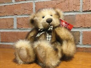 Russ Berrie Madison Teddy Bear From The Past Brown Faux Fur Stuffed NWT Vintage