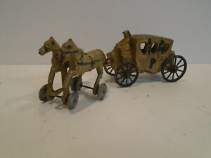 Vintage Lead Horse & Carriage