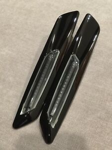 2X GLOSS BLACK for E60 E61 E82 E88 E84 X1 Fender side marker light 6000K LED led