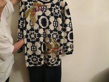 100% Wool Women's Sweater/ Skirt Set Small. Top-Navy Blue/White, Skirt-Navy Blue