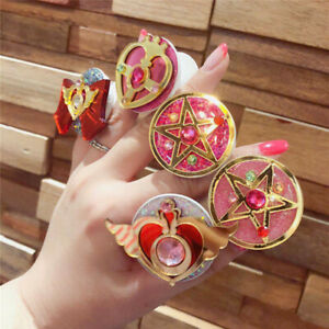 Sailor Moon Phone Holder Crystal Star Moon Finger Heart Ring Stent Accessories