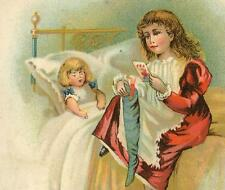 Filling A Christmas Stocking D Wolff & Co Clothiers NJ Victorian Trade Card