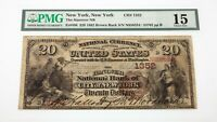 1882 Brown Back $20 National Currency Note Fr #496 Hanover NB Ch #1352 Fine 15