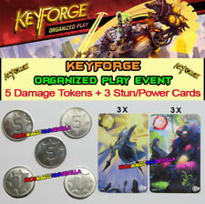 KEYFORGE CALL OF THE ARCHONS -5 Promo Metal Damage Tokens + 3 Stun / Power Cards