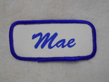 New listing Mae Used Silk Screen Name Patch Tag Blue On White