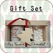 """""""en Bois Arbre de Noël"""" fondue au chocolat + mini Guimauve cadeau de Noël Set XT2"""