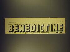 1939 Benedictine Liqueur Ad - in French - La Grande Liqueur