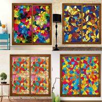 Modern Static Cling Window Films Multicolor Stained Glass Sticker Door Decor Art