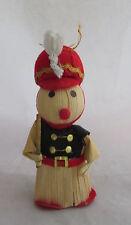 Vintage 1960s Corn Stalk Husk Mouse Soldier with Baton Christmas Decoration