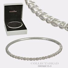 "Authentic Pandora Silver Timeless Elegance Bangle 6.9"" Hinged Box 590522CZ-2"