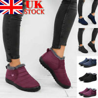 UK Womens Fur Winter Snow Ankle Boots Waterproof Ladies Slip On Shoes Size 5-7