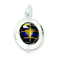 Sterling Silver Enameled Globe Compass Charm Pendant