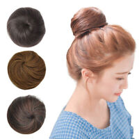 100% Human Hair Chignons Bun Hair Piece Clip in Updo Cover Drawstring Scrunchies