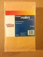 12 Pack of Single 6 in x 10 in Padded Envelopes (Office Depot Brand) - New!!!