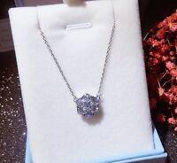 "Silver Diamonique Cubic Zirconia Flower Cluster Pendant 16"" Necklace Chain I10"