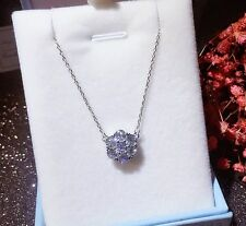 "Silver Diamonique Cubic Zirconia Flower Cluster Pendant 16"" Necklace Chain I10"
